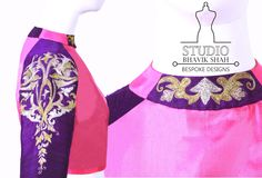 Golden Embroidered Crop top with paneled neck and raglan sleeve. Silk, Silk jute fabric
