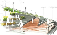 Image 15 of 37 from gallery of 7 Firms Reveal Plans for Los Angeles River Revitalization. From the Los Angeles River Downtown Design Dialogue (City of Los Angeles, Bureau of Engineering). Used by Permission from WSP Landscape Stairs, Landscape And Urbanism, Landscape Design Plans, Landscape Architecture Design, Urban Landscape, Architecture Durable, Plans Architecture, Architecture Collage, Concept Architecture
