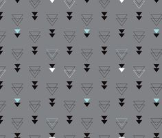 Geometric triangle in trendy black gray white and pastel blue - Abstract geo theme - fabric by Little Smilemakers Studio on Spoonflower - DIY Inspiration for home decor and fashion.