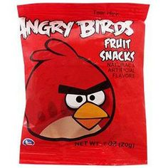 Angry Bird Red Fruit Snacks and Gummies based on the worldwide puzzle Internet game sensation. Natural and artificial flavors. Made from real fruit juice.