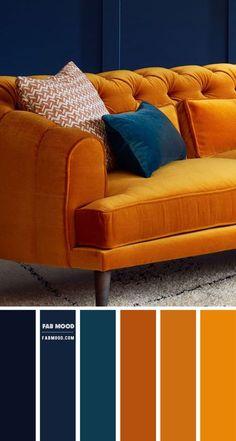 Color Schemes Colour Palettes, Living Room Color Schemes, Living Room Designs, Living Room Decor, Rust Color Schemes, Summer Color Palettes, Living Room Colors, Blue And Orange Living Room, Blue Living Room Walls
