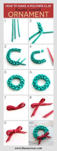 Handmade Braided Wreath Ornament-Interesting Polymer Clay DIY Projects