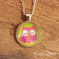 Sweet Owl Pink and Green 1 Inch Round Glass Cabochon Pendant with Chain, Black Satin Cord or Keychain