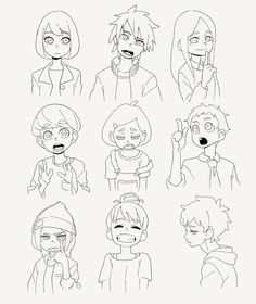 moni-o: FACEs】 - moni-o-inom Cartoon Sketches, Cartoon Styles, Art Sketches, Pretty Art, Cute Art, Drawing Expressions, Art Poses, Character Drawing, Manga Drawing