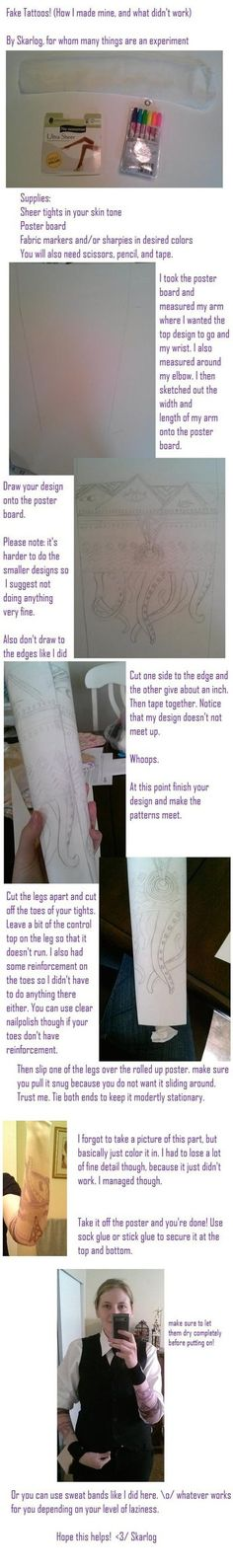 Fake tattoo sleeve tutorial by Skarlog