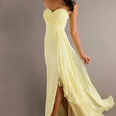Simple, yellow prom dress