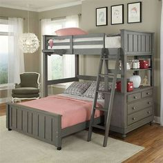 Shop bunk beds & other kid's bedroom furniture at My Home Furniture Co. Find modern bunk beds with many options that are durable, easy-to-clean and as functional as they are stylish. Modern Bunk Beds, Full Bunk Beds, Bunk Beds With Stairs, Kids Bunk Beds, Full Bed, Loft Beds, Bunk Beds For Girls Room, Loft Twin Bed, White Loft Bed