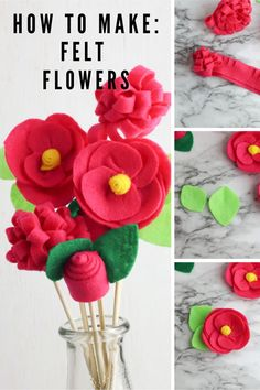 Decorating with fresh flowers don't last long after bringing them inside! Keep the spring spirit alive throughout the season with the help of this simple felt flower bouquet, which features three different flower designs, poppy, rose and mums. Keep reading for the full DIY felt flowers tutorial. Felt Flower Bouquet, Felt Flowers, Diy Flowers, Fabric Flowers, Paper Flowers, Easy Diy Crafts, Diy Craft Projects, Crafts To Make, Fun Crafts