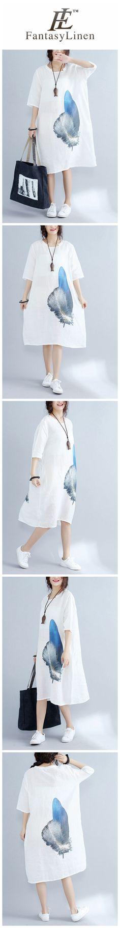 Blue Feather White Linen Korean Loose Dress Comfort Women Clothes
