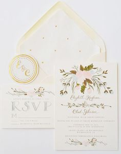 Custom Hand Painted Wedding Invitation Suite/Set by firstsnowfall, $245.00