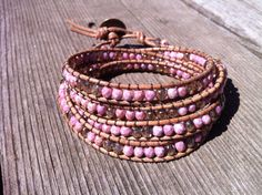 Beaded Leather 4 Wrap Bracelet with Pink and Gold Czech by betz887, $46.00