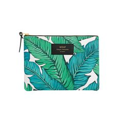 Ideal for carrying your essentials in the most stylish way possible; say hola to this Wouf Large Pouch Bag, Tropical. Coming in this statement and on-trend leaf print, it's made from water repellent and durable printed technical canvas. Featuring a YKK zi Gift Wrapping Services, Leather Label, Pouch Bag, Leaf Prints, Leaf Design, House Colors, Clutches, Gifts For Her, Tropical