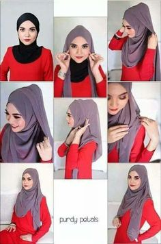 8 Hijab Tutorials Without Using Many Needles Style Style Hijab Simple, Simple Hijab Tutorial, Hijab Style Tutorial, Islamic Fashion, Muslim Fashion, Hijab Fashion, Fashion Scarves, Style Fashion, Beau Hijab