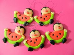Watermelon kids. I could make these into fridge magnets. They're so cute