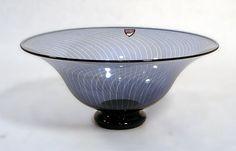 Edward Hald for Orrefors    Unique slip graal vase in blue and clear, 1985.