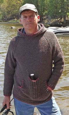 Free Knitting Pattern for Bottle Rocket Sweater - This pullover hoodie features an extra pocket in front perfect for carrying a bottle handsfree when camping, hiking, fishing, or just relaxing. Quick knit in bulky yarn. Men's sizes S(M, L, X-L, 2X-L). Designed by Michelle Porter for Knitty