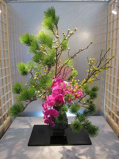 Hotel Flower Arrangements, Contemporary Flower Arrangements, Ikebana Flower Arrangement, Ikebana Arrangements, Beautiful Flower Arrangements, Beautiful Flowers, Japanese Floral Design, Japanese Flowers, Arreglos Ikebana