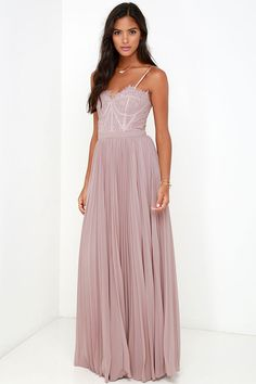 Bariano Come Quick Cupid Taupe Strapless Lace Maxi Dress at Lulus.com!