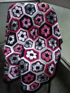 Granny Square Crochet Blanket...Flowers Crochet by GalyaKireva, $90.00