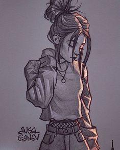 Girl Drawing Sketches, Girly Drawings, Cartoon Girl Drawing, Anime Girl Drawings, Art Drawings Sketches Simple, Pencil Art Drawings, Cool Drawings Tumblr, Tumblr Girl Drawing, Tumblr Sketches