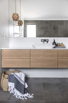 Vanities Sink Ideas - Floating Vanity - Rustic Modern Luxury - Modern Farmhouse Vanity Sink - Two Small Bathroom Sink Vanity - Built-in Vanities Sink Ensuite Bathrooms, Laundry In Bathroom, Bathroom Renos, Grey Bathrooms, Bathroom Flooring, Bathroom Renovations, Small Bathroom, Shower Bathroom, Wooden Bathroom Vanity