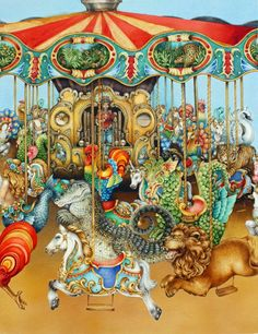 Carousel - Illustration by Pauline Ellison (British, b. 1946)
