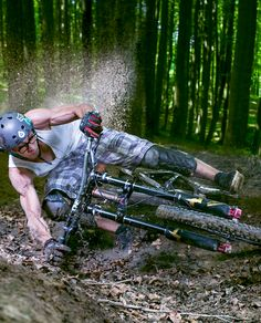 .Muscular arms on this guy. MTB power!