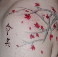 Cherry Blossom Tattoo...I love the no outline look!