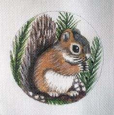 Handpainted Baby Squirrel needlepoint canvas