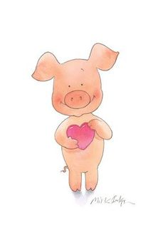 Illustrationcupboard Mick Inkpen's famous Wibbly Pig and heart