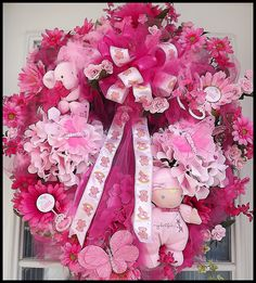 Baby Wreaths | Baby Girl Wreath for Door.