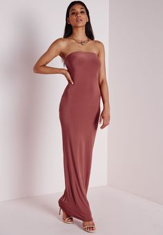 Missguided - Slinky Tube Dress Dark Pink