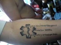 medical alert tattoo - Good for multiple issues Medical Alert Tattoo, Medical Tattoos, I Tattoo, Tattoo Quotes, Diabetes Tattoo, Children's Medical, Medical Design, Student Gifts, Branding Design