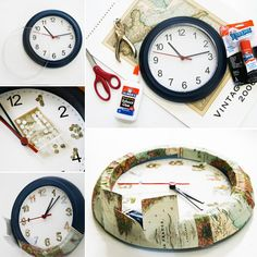 DIY MAP CLOCK.... Ikea hack: two dollar Clock gets a MAP makeover. Made from a 'Rusch' clock from IKEA, $1.99