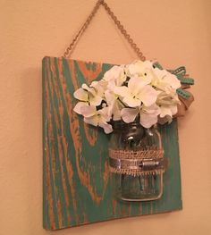 A personal favorite from my Etsy shop https://www.etsy.com/listing/468093263/hydrangea-in-a-mounted-mason-jar