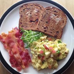 Apple & Swiss Cheese Scrambled Eggs Bacon Cinnamon Raisin Toast with a little butter & Sprouts. A sweet and savory dream!  I know bacon  --------------------------------------- #apples #eggs #swisscheese #cinnamonraisin #sprouts #bacon #breakfast #healthyfood #healthyeating #cleanfood #cleaneating #wholefoods #realfood #goodfood #nutrition #eatclean #eathealthy #fitfam #fitness #eatfit #foodie #foodporn #instafood #healthfood #breakfastofchampions #microgreens by zestmylemon