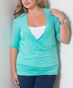 Mint Faye Surplice Top - Plus