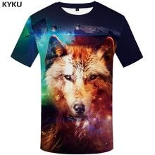 KYKU Brand Wolf Shirt Galaxy Tshirt Space T-shirt 3d T Shirt Men Short  Sleeve 9bf179e698a9