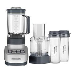 The Cuisinart Velocity Blender/Food Processor with Cups lets you do it all. The blender smart power and sophisticated electronics minces delicate    herbs, whips up smoothies and even chops ice to a fine powder. Blend your smoothies right in the two travel cups, put on the lids and enjoy healthy    breakfast on the go. Use the food processor work bowl to slice, shred, chop or mix a dip in no time at all.                High-performance 1 horsepower motor                    3-in-1 Blender...