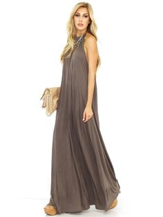 Michael Lauren Michael Lauren Pedro Maxi Halter Dress in Coal Mine