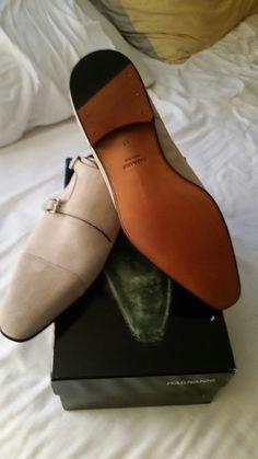 Biege captoe suede monk strap shoes by magnanni