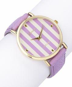 Lilac Stripe Leather-Strap Watch