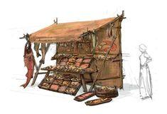 Environment Concept Art, Environment Design, Fantasy Map, Fantasy World, Medieval Market, Arte Robot, Building Concept, Prop Design, 3d Max
