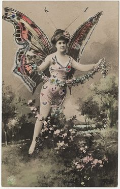 Butterfly Lady - Hand Colored Real Photo Postcard by Photo_History, via Flickr