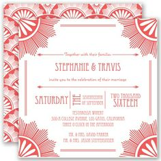 Marquis size two-sided wedding invitation. Personalize with your color choice and wording. Shop more art deco wedding invitations. Apple Invitation, Gala Invitation, Art Deco Wedding Invitations, Wedding Themes, Wedding Stationery, Invites, Wedding Ideas, Wedding Inspiration, Engagement Invitations