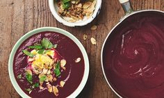 Photograph of Yotam Ottolenghi's beetroot and orange soup with saffron yoghurt