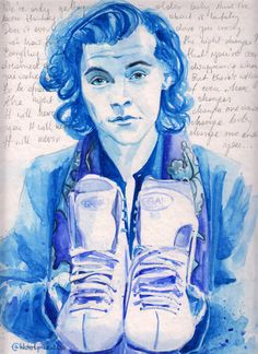 "Harry Styles Watercolour Portrait with ""Night Changes"" Lyrics One Direction"