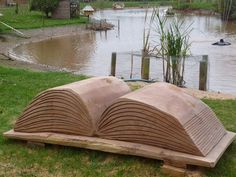 """""""Book Bench,"""" by Tim Burgess -- """"This Book Bench is about six feet long and was [privately commissioned and] sculpted with chainsaws from a large log of oak."""""""