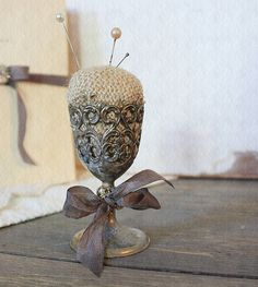 Burlap Pin Cushion in Ornate Vintage Silver Plate Cup