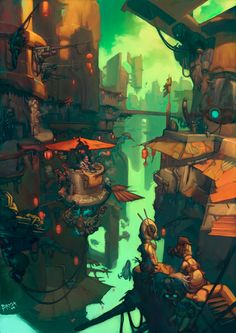 Wild and Dynamic illustration by Sergi Brosa. Environment Concept Art, Environment Design, Creative Illustration, Illustration Art, Character Illustration, Art Environnemental, Bg Design, Game Character Design, 3d Character